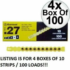 "Ramset 4RS27 #4 ""Yellow"" 27 cal Strip Loads x4 Boxes of 100 Loads / 10 Strip)"