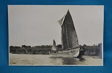 1920s RP Postcard Chinese Junk Native Sailing Boat On River China