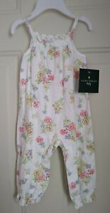 LAURA ASHLEY BABY GIRL WHITE AND FLORAL COVERALL, SIZES 6-18M