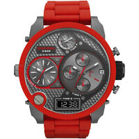 Wristwatches DIE SEL DZ7279 MR.DADDY RED SILICONE GUNMETAL 4 TIME MEN'S WATCH