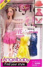 7pc Dress Up Principessa Doll Set 3 Bambola Abito Borsa Scarpe Accessorio Giocattolo Regalo Ragazze