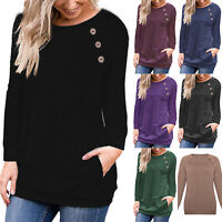Womens Casual Long Sleeve Pullover Sweater Button Sweatshirt Jumper Tops S-3XL