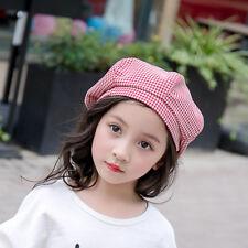 Girls Beret Hat Baby Cotton Plaid Autumn Winter Retro Caps Child Beret Cap