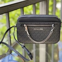 MICHAEL KORS JET SET EAST WEST CHAIN CROSSBODY PVC BAG  PURSE MK SIGNATURE BLACK