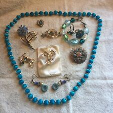 Lot of 12 Vintage & Mod blue jewelry some signed 12K gold filled EUC