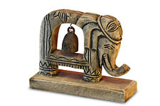 Elephant With Bronze Bell Statue Wood Art Decoration Sculpture Animal Carved