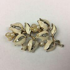VINTAGE Art Nouveau Stile Smalto Tono Oro e Fiore