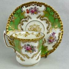 Green Antique Coalport Batwing #2665~Cup & Saucer~Gold Gilt~c1891~Demi tasse