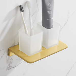 Bathroom Wall mounted Aluminum Tumbler Toothbrush Cup Holder Set Brushed Gold