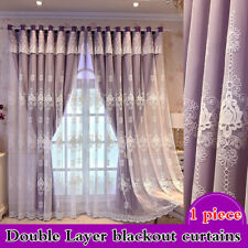 Blackout Curtain Eyelets Ring for Living Room Embroidery Lace Tulle Drape