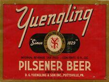 """YUENGLING PILSENER BEER LABEL 9"""" x 12"""" SIGN"""