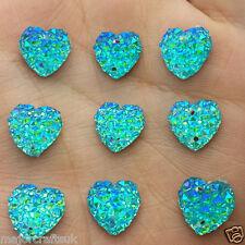 24pcs Aqua Blue AB 12mm Flat Back Heart Sew-On Resin Rhinestones Button Gems