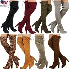 New Women Fashion Stretchy Pull On Over the Knee Thigh High Chunky Heel Boot