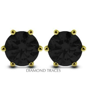 3.12ct Black VG Round Genuine Diamonds 14k Gold 6-Prong Classic Mens Studs 7.3mm