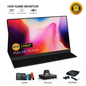 "Portable 13"" IPS HDMI Monitor FHD 1920x1080 Gaming Screen Display Dual Speakers"