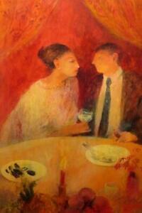 "RICHARD SORRELL RBA (1948-) British ORIGINAL ACRYLIC PAINTING ""Candlelit Supper"""