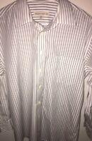 Pronto-Uomo Non Iron Striped Button Down Dress Shirt Size 16 32/33