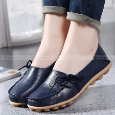 Womens Casual Leather Comfort Walking Bowed Flat Shoes Loafers Moccasin Slide