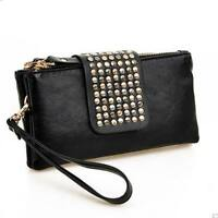 Women Wallet Card Holder Zipper Purse Cash Cluth Long S Id Leather Rfid Blocking