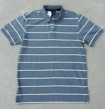 New Anchor Blue Men's Vintage Cotton Capistrano Polo Striped Shirt NWT L Gray