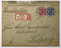 Dt. Reich Einschreiben Mittweida n. Leipzig 23.1.1895