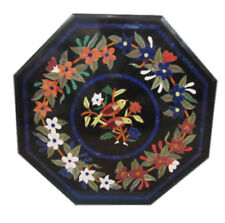 "24"" Black Marble Center / Coffee Table Top Handicraft Inlay Work"