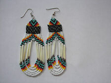 porcupine quill  Earrings NEW Navajo  turquise orange and yellow looped