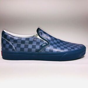 VANS Slip On Translucent Rubber Blue Checkerboard Shoes Size 11.5 VN0A38F7QF1