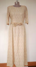 Vintage 40s Mason Waters Paisley Lace Silk Lined Champagne Cocktail Party Dress