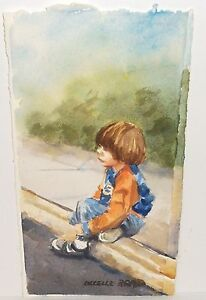 "LUCELLE RAAD ""WAITING FOR DADDY"" ORIGINAL WATERCOLOR PAINTING"