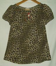 Love Label Leopard Print Chiffon Tunic Blouse Top Khaki Size 6