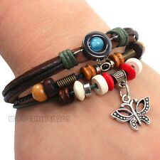Retro Butterfly Animal Charms Hand-knitted Leather Fashion Bracelet Gift SLO406