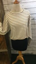 Cotton United Knitwear Beige & White Super Cute CROP Sweater! One Size-  NWT