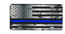 Thin Blue line license plate, law enforcement, police, support