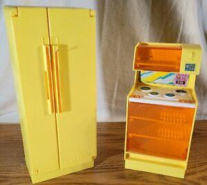 Vintage 1978 Orange Barbie Dreamhouse Kitchen Refrigerator & Stove Oven