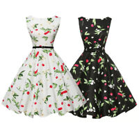 Women 50s 60s Style Vintage Retro Floral Print Swing Skater Dress Party Dresses