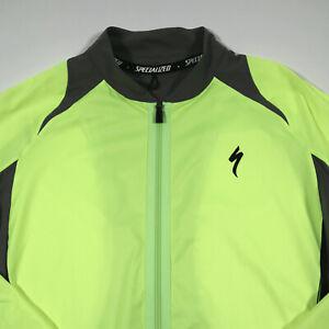 Specialized Windbreaker Cycling Jacket M Full Zip Neon Lime Green 3 Pocket Back