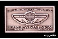 HARLEY DAVIDSON 100TH ANNIVERSARY SQUARE PEWTER PIN **OBSOLETE ITEM ** 2003