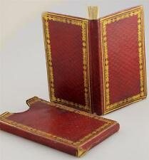c1850 Miniature Antique Book LEATHER Romance SLIPCASE Steel Plate SONGS Rare VTG