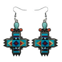 STERLING CORAL AZTEC LRG TURQUOISE SILVER CONCHO INDIAN WESTERN COWGIRL EARRINGS