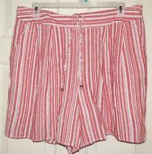 New Womens 2X 20W-22W Red White Striped Linen/Rayon Shorts Terra & Sky Pockets