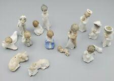 Vtg Lladro Figurine Nativity Ornament Set 15pcs. Jesus mini angels