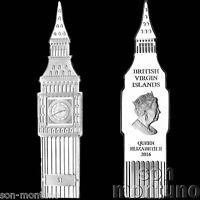 2016 BIG BEN CLOCK SHAPED 1 DOLLAR COIN Nickel Silver British Virgin Islands UNC