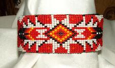 "Beaded Cuff Bracelet Geometric 1.5"" W x 8"" L Leather Backed FREE SHIPPING #29"