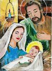 ACEO Original Painting Art Card Acrylic Holy Family 100% Hand Painted