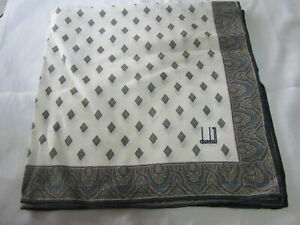 "USED WHITE GEOMETRIC PATTERN COTTON 20"" HANDKERCHIEF POCKET SQUARE FOR MEN TYPE2"