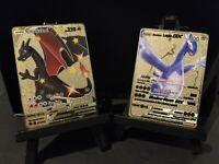 Pokemon Card - Charizard V + Shadow Lugia GX - Custom Gold Metal Card