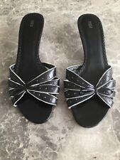 M&S Ladies Black Kitten Heel Mules Size 7