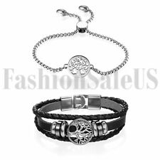 2pcs Leather Stainless Steel Women's Tree of Life Dangle Chain Bracelet Bangle