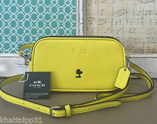 COACH X PEANUTS WOODSTOCK CROSSBODY PURSE LEATHER YELLOW LIMITED EDITION NWT